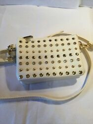 Cute Small Size Cream Color Faux Leather Embellished Purse $12.99