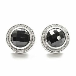 David Yurman Large Faceted Onyx And Diamond Earrings In Ss