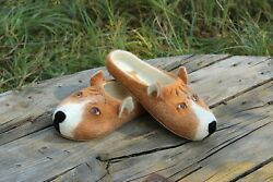 Pit bull terrier dog slippers dogs custom handmade wool felted flat shoes