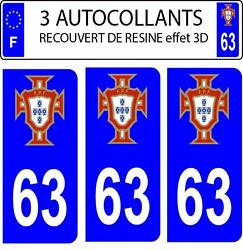 3 Stickers License Plate Auto Doming 3d Resin Portugal Fps No. 01