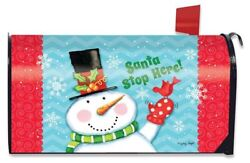 Santa Stop Here Magnetic Mailbox Wrap Cover Standard Size Christmas Winter
