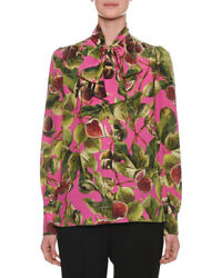 DOLCE & GABBANA $1195 Long-Sleeve Fig Print Tie Neck Blouse size IT 42