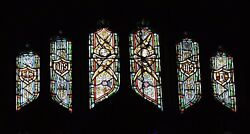 + Older Stained Glass Church Window + By J. Morgan Transom Sb24 + Chalice Co.