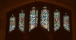 + Older Stained Glass Church Window + By J. Morgan Transom Sb19 + Chalice Co.