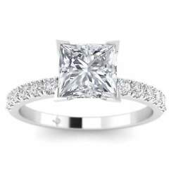 White Gold Micro Pave 4-Prong Square Princess Cut Diamond Engagement Ring - 2.00