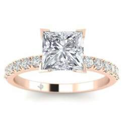 Rose Gold Micro Pave 4-Prong Square Princess Cut Diamond Engagement Ring - 2.00