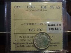 Canada Silver 10 Cent 1948, Iccs Ms-65 Double 8
