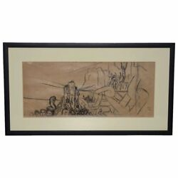 Jean Carlu French 1900-1997 Breaking The Chains Original Charcoal On Paper