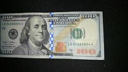 Fancy Binary Serial Number Lb 94888894 V Bookends On A 2009a 100 Dollar Bill