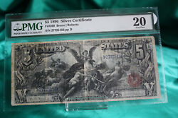 1896 5 Silver Certificate, Pmg Vf20 Fr269, Education Note. Bruce/roberts