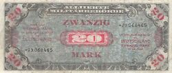 Germany 20 Mark Serie 1944 P 195d Wwii Issue Circulated Banknote Awwii
