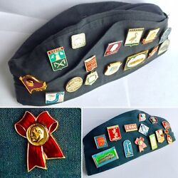 Vintage Russian / Soviet Union Pilotka Military Cap With 27 Rare Ussr Badges