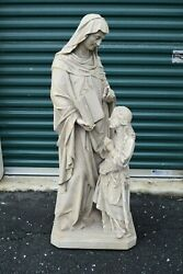 Nice Older Plaster Statue of St. Anne w Child Mary + 48 12