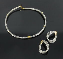 Vintage Stainless Steel And 18k Yellow Gold Rope Design Earrings And Necklace Set