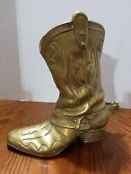 Vintage Cast Brass 8 3/4 Cowboy Cowgirl Boot Planter Vase With Spur