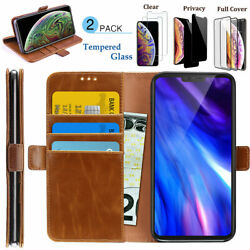 For Apple iPhone XS MAX XR Luxury Leather Back Flip Case Cover + Tempered Glass