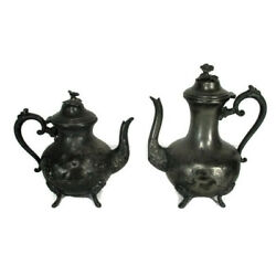 Antique Set Of 2 Art Nouveau Teapot Coffee Embossed Ornate Pewter