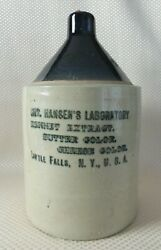 Antique Hansenand039s Laboratory Stoneware Jug Little Falls Ny Butter Cheese Color