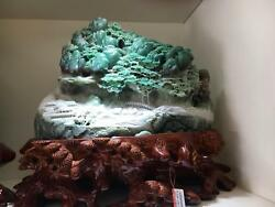 Natural DuShan Jade Stone Carved Mountains Water pavilion Tree Shanzi Ornaments