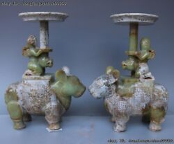 Chinese He Tian Old Jade Nephrite Carving Cattle Bull OX Zun candlestick A Pair