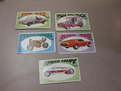 Lot Of Five 1970 George Barris-way Out Wheels Card-fuzz