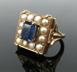 Antique 1.0ct Synthetic Sapphire And 3mm Pearl 14k Yellow Gold Ring Size 11.5