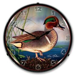Retro Style Green Wing Teal Duck Led Lighted Backlit Wall Clock Man Cave Sign