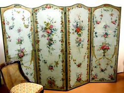 19th C. FLORAL FLOOR SCREEN in CONTINENTAL CANVAS OIL PAINTED blue w.pink roses
