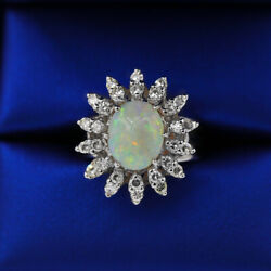 Vintage Opal And White Diamonds Fashion Ring Crafted In 14k White Gold