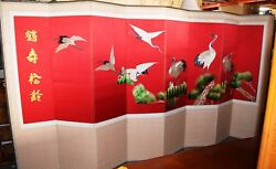 Antique 8 Panel Silk Chinese Room Divider Privacy Screen Crane Pattern 12' x 75