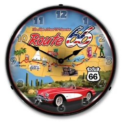 Nostalgic Vintage Style Route 66 Usa Backlit Led Lighted Wall Clock Sign New