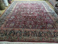 9and039 X 11and039 Antique Hand Made India Agra Wool Rug Hand Knotted Red Organic Dye Wow