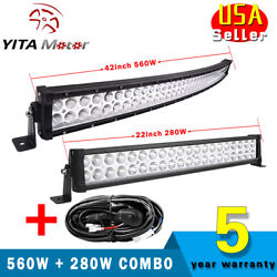 42 560w Curved + 22 280w Led Light Bar Flood Spot Combo Offroad Truck + Wiring
