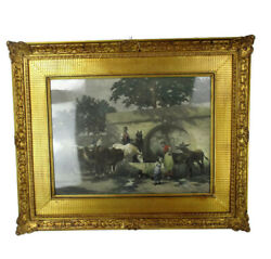 Antique Gorgeous Litho Horses Cows Water Trough Ornate Frame  Wood Plaster