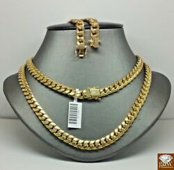 Real 10k Gold Miami Cuban Chain Necklace 7mm 19 Inch Box Lock Cuban Link Strong