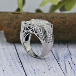 14k White Gold Mens Ring Features 1.50ct Of Pave White Diamonds.