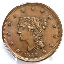 1842 N-2 Pcgs Ms 64 Bn Small Date Braided Hair Large Cent Coin 1c
