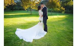 Custom Lace Marchesa Designer Wedding Gown - Ivory Size 8 w Detachable Sleeves