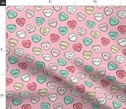Valentines Day Valentine Candy Hearts Hearts Fabric Printed by Spoonflower BTY