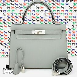 NEW HERMES 28 CM KELLY HSS HORSESHOE GRIS MOUETTE RAISIN BRUSH PHW BIRKIN BAG 19