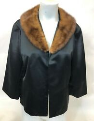 Womens Talbots Shiny Black Polyester Faux Mink Fur Collar Blazer Jacket Size 14