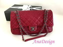 AUTHENTIC CHANEL EASY RED CAVIAR MESSENGER CROSSBODY BAG JUMBO SIZE