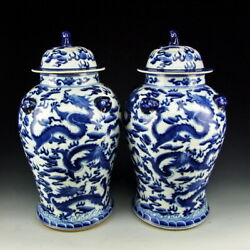PAIR OF CHINA ANTIQUE BLUE&WHITE PORCELAIN LIDDED JARS DRAGON