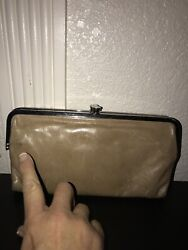 Hobo International Lauren Leather Double Frame Clutch Wallet Beige