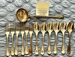 19th Century French Plated Silver Flatware In Filet Pattern Circa 1850