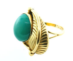 Vintage 14k Yellow Gold Native American Navajo Row Bow Turquoise Leaf Ring 7.75