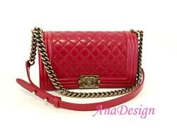 Chanel Medium Red Calfskin Crossbody Messenger Boy Bag w Authenticity Cert
