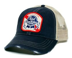 Pabst Blue Ribbon Beer Hat Vintage Applique Truckers Cap Adult NavyTan