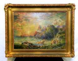 Ulysses And The Sirens After Thomas Moran Oil On Canvas 1918