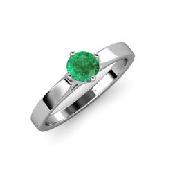 3/4 Ct Round Emerald 4 Prong Womens Solitaire Engagement Ring 14k Gold Jp114979